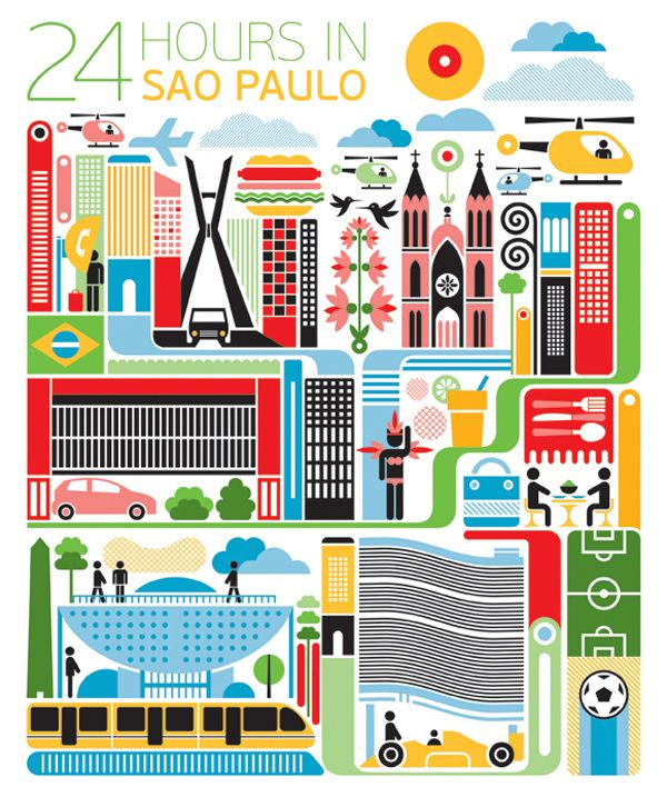 #Sao_Paulo #Brazil http://directrooms.com/brazil/hotels/sao-paulo-hotels/price1.htm (World City Illustration by Fernando Volken Togni)