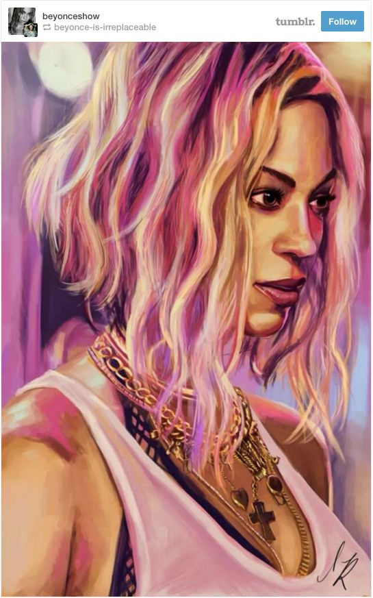 Beyonce Fan Art: The pink and purple hues in this gorgeous painting by @Katealexandr bounce off of Beyoncé's face as if she is the setting sun amongst a colorful skyscape.