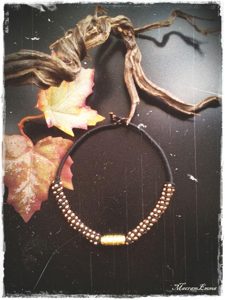 .Gipsy Black Macrame Necklace with Gilded Beads..by MacramEmma..