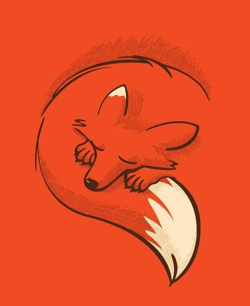 sketched sleeping Fox, minimal lines