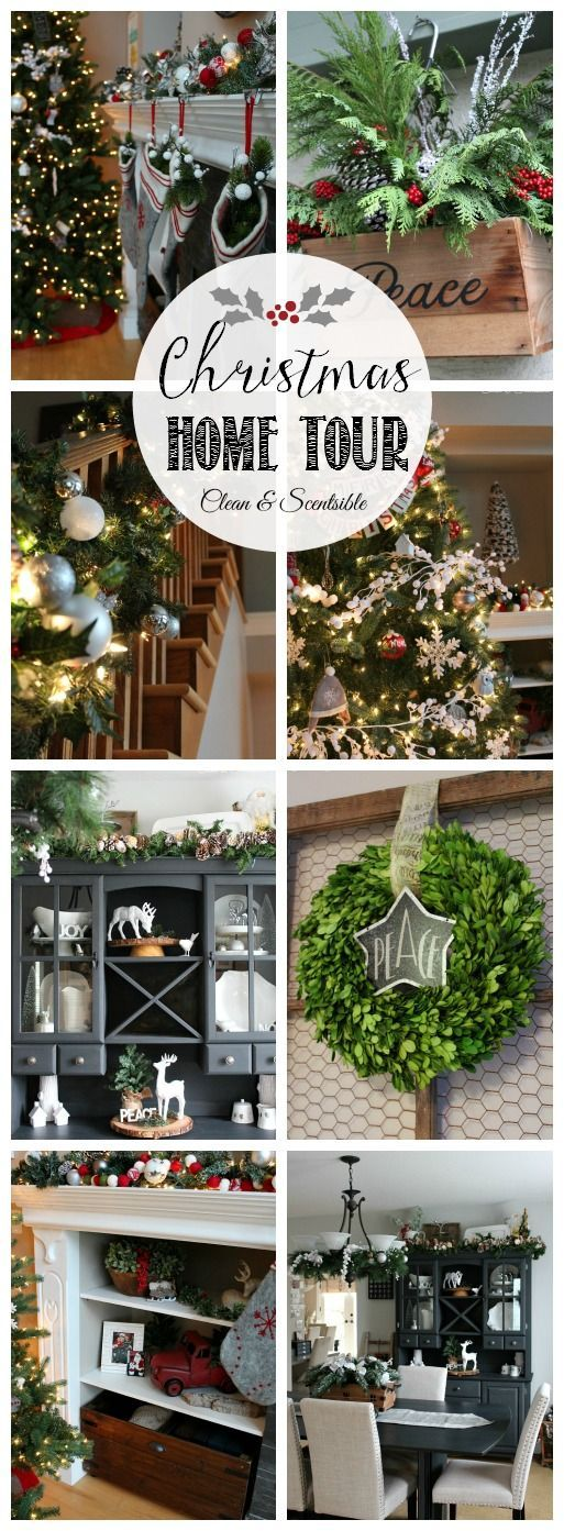 Beautiful Christmas home tour with lots of great decorating ideas! // www.cleanandscentsible.com