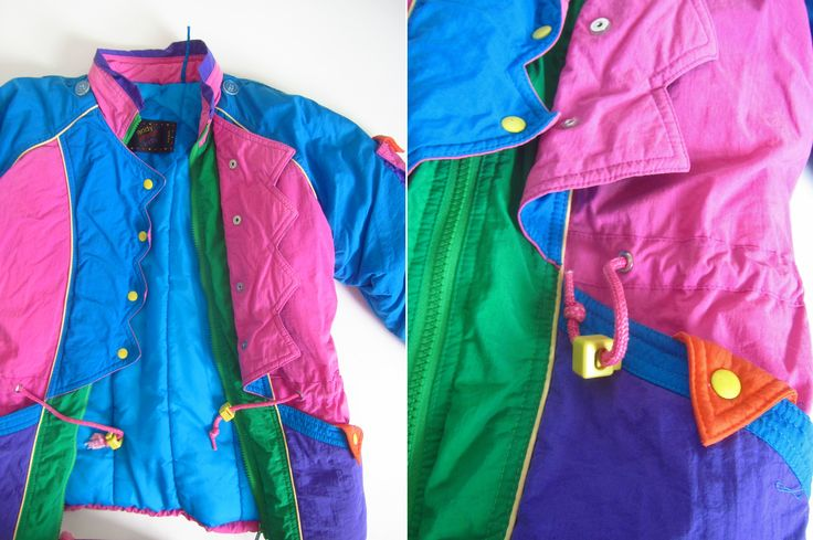 punky brewster ski jacket . bright colorful 80s winter snow