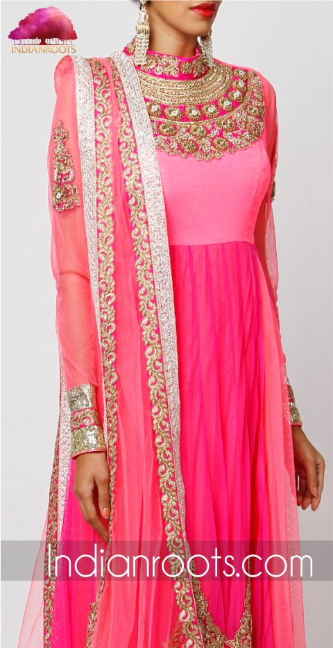 Neon pink Zardozi embroidered raw silk anarkali suit by Kylee on Indianroots.com