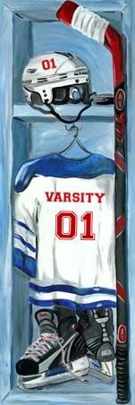 """""""Hockey Locker"""" canvas wall art by Jones Segarra for Oopsy daisy, Fine Art for Kids $119"""