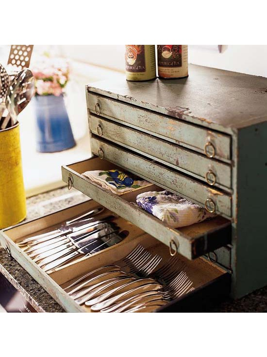 Silver organizer made from an old toolbox