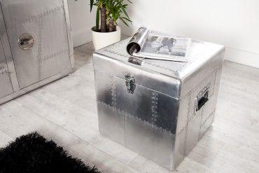 Design Truhe AVIATOR Silber Alu 45cm Kiste Vintage Retro matt