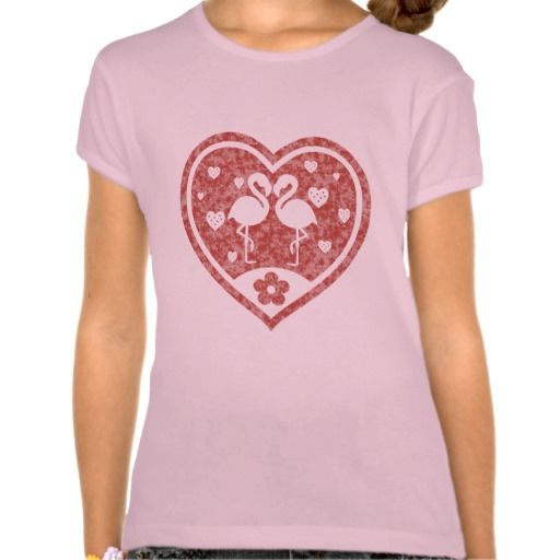 Textured Heart Flamingo Love / Girls' Bella Fitted Babydoll T-Shirt. Choose between white, pink and baby blue color! #fomadesign
