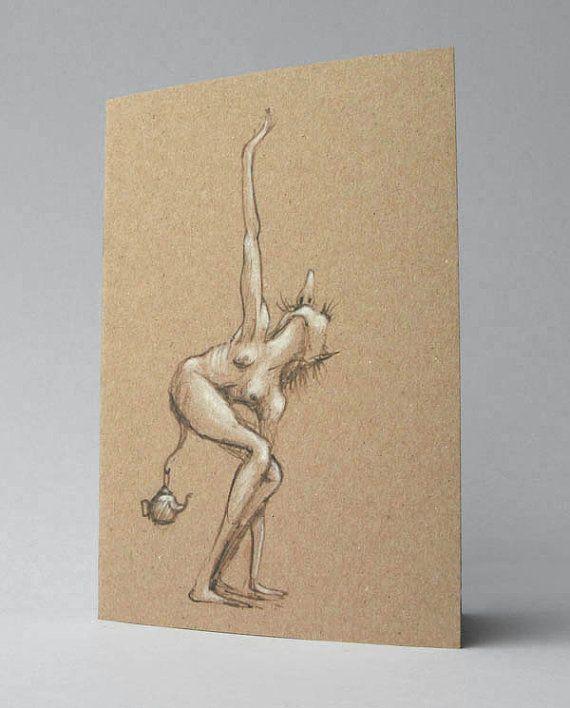 Goblin Sprite Pixie Art Card Dark Creepy Faery Gothic Art by Modru, €4.50