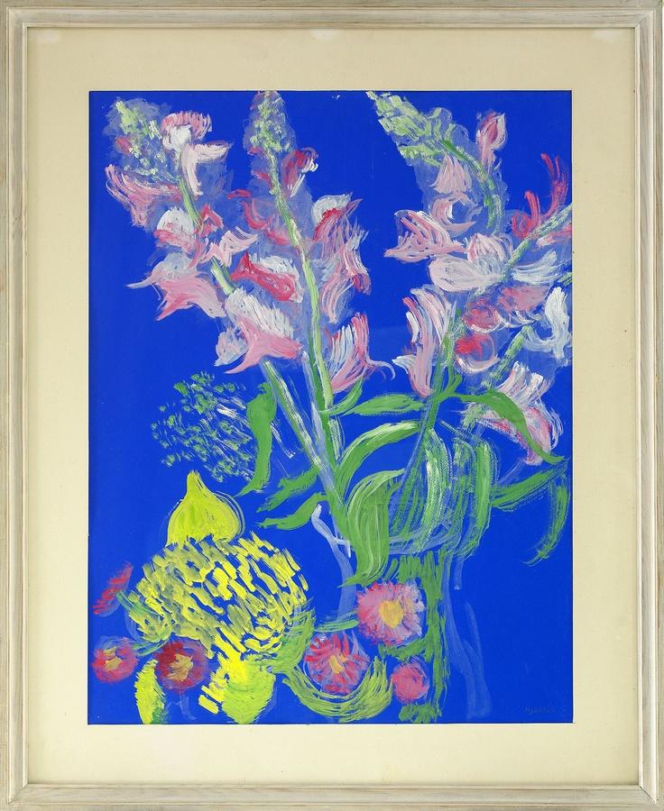Sigrid Hjerten (1885-1948): Gladiolus mot blått