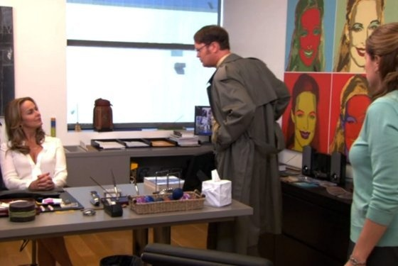 """Check out the essey tissue box on Jan's desk on The Office """"The Whale"""" episode"""