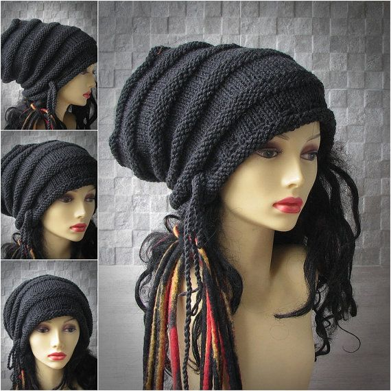 MADE TO ORDER Large Charcoal Gray Knitted Slouch hat/ Slouchy