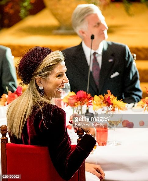 King Philippe of Belgium and Queen Maxima of the Netherlands of The Netherlands during a lunch hosted by the Dutch government in the Ridderzaal on...