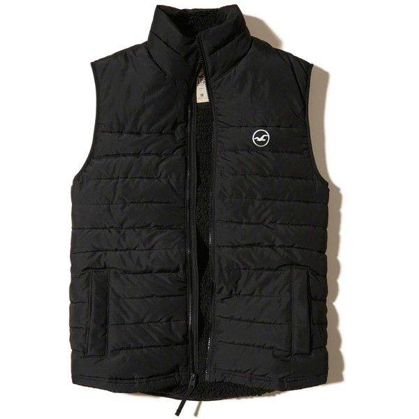 Hollister Sherpa Lined Puffer Vest (180 BRL) ❤ liked on Polyvore featuring men's fashion, men's clothing, men's outerwear, men's vests, black, mens puffy vest, mens puffer vest, mens faux leather vest, mens vest outerwear and mens vest