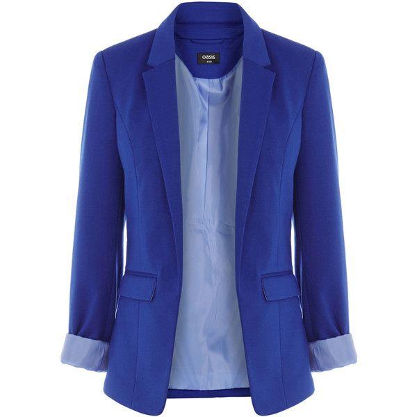 OASIS Ponte Jacket ($45) ❤ liked on Polyvore featuring outerwear, jackets, blazers, tops, blue, blue blazer, cinch jackets, blue jackets, ponte knit jacket and ponte knit blazer
