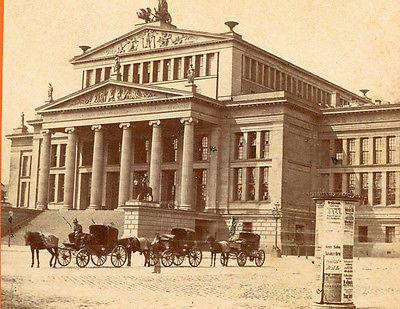 BERLIN GERMANY 1874 STEREOVIEW SCHAUSPIELHAUS KONZERTHAUS CONCERT HALL
