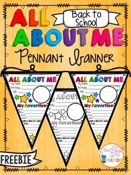All About Me Pennant Banner (Back to School) FREEBIE!! FREEBIE!! I love this because I can get to know my students and decorate.