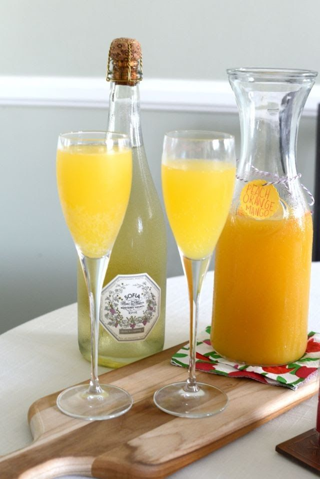 sunday brunch #orange #peach #mango #mimosa #drink #food #recipe