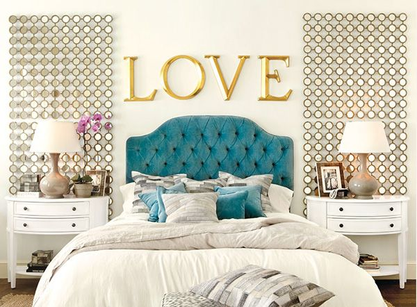 Teal headboard awesome wall treatment