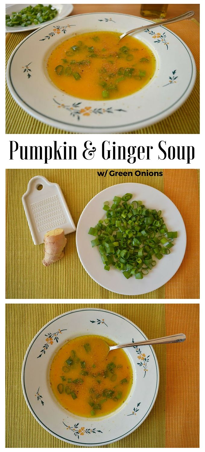 Immune-boosting pumpkin and ginger soup. The ginger, green onions and roasted sesame seeds blend with the pumpkin to create a combo of superfoods for the Winter.