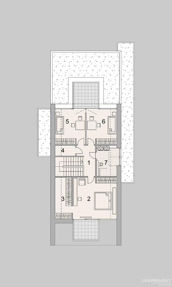 Projekty domów LK Projekt LK&1398 rzuty Poddasze