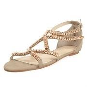 Sandali da gladiatore con borchie beige