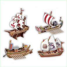 3D Jigsaw Puzzle Cardboard Model. The Ships x 4- Green Ant Toys Online Toy Shop http://www.greenanttoys.com.au/shop-online/puzzles/3d-cardboard-puzzles/cubic-happy-3d-puzzle-kids-3d-model-ships/