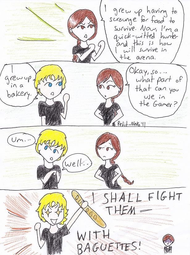 Funny: Fail: The Hunger Games: Katniss and Peeta: Katniss: Peeta: Peeta Mellark: Katniss Everdeen: Comics: The Hunger Games - Food Fight by Petit-Neko.deviantart.com on @deviantART