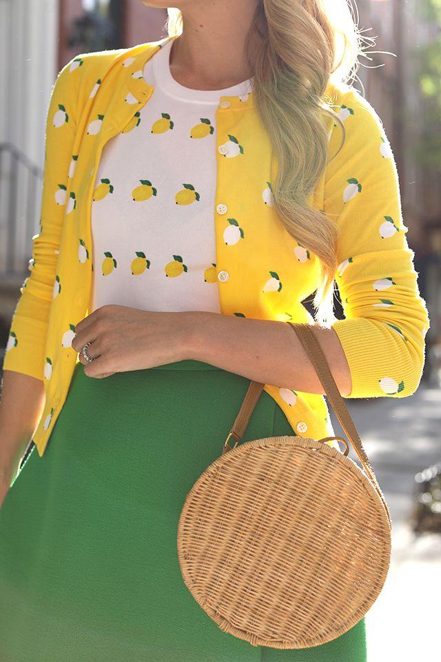 Blair Eadie of Atlantic-Pacific wearing a lemon print tank and sweater in the west village.