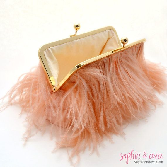 The Grace Clutch in Blush Ostrich Feathers by SophieAndAva on Etsy