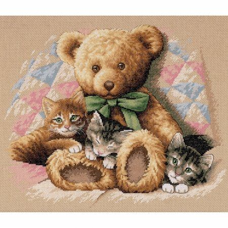 Teddy & Kittens Counted Cross Stitch Kit-14X12 14 Count. Dimensions 35236.