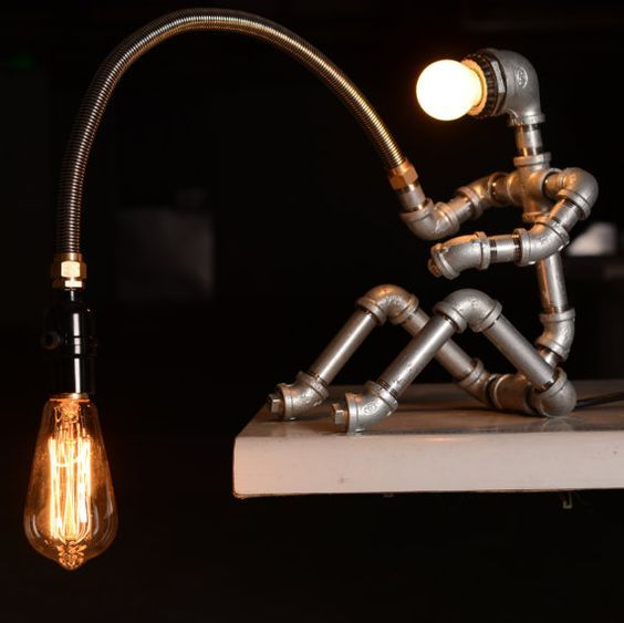 Concepteur Eclairage industriel BBE – lampe Steampunk Table lampe Edison Vintage Light Water Pipe lampe de chevet rustique léger pêcheur