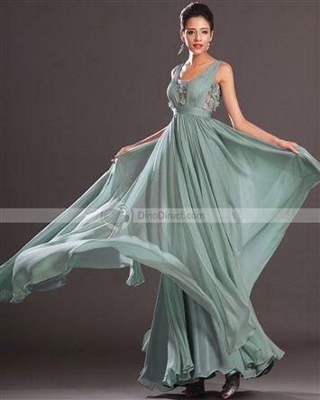 Amylinda™ Chiffon Applique Scoop Sleeveless Floor Length A Line Evening Dress
