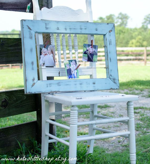 Rustic Distressed Shabby Blue Twine Clothesline by KatesLittleShop