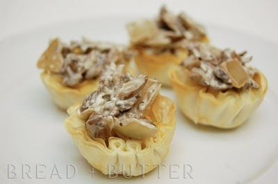 ... cream in phyllo cups cream cheese and mushroom tartlettes appetizer