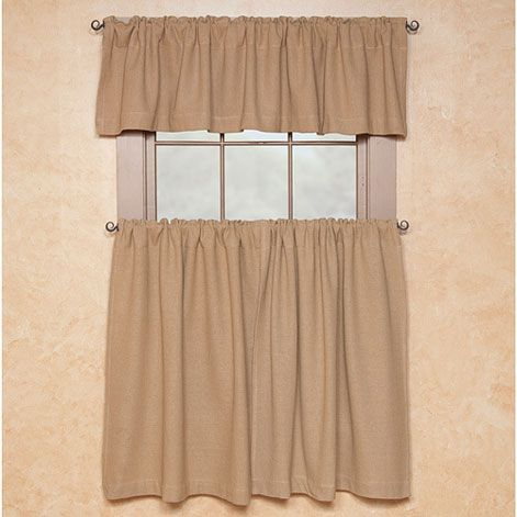 Burlap Natural Valance With Tier Options Country