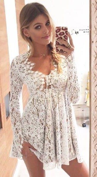 White Lace Little Charlie Mini Dress, | ForLoveAndLemons