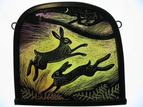 """Two Hares"" by stained glass artist Tamsin Abbott"