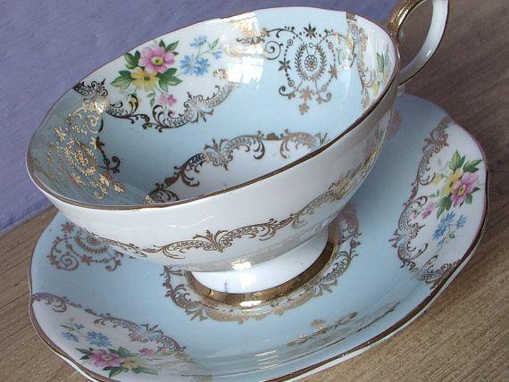 Antique Royal Standard pale blue and white tea by ShoponSherman, $79.00