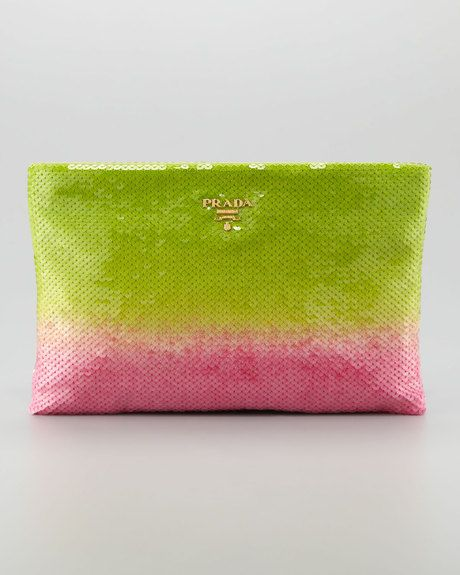 Prada pink and greenclutch