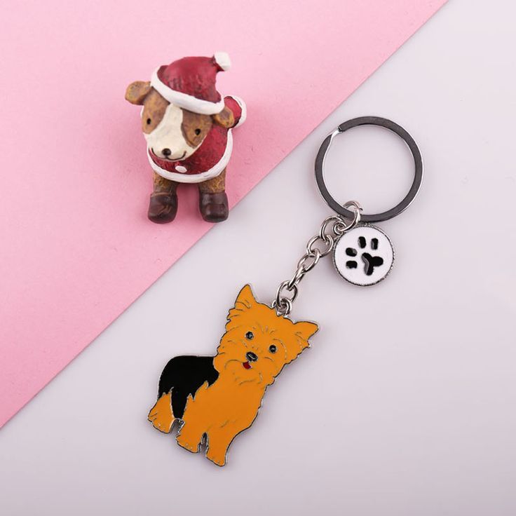 Can wholesale NEW yorkshire terrier PET dogs Key chain gift Keychain car Keychain on bag rings for women keychain on the keys