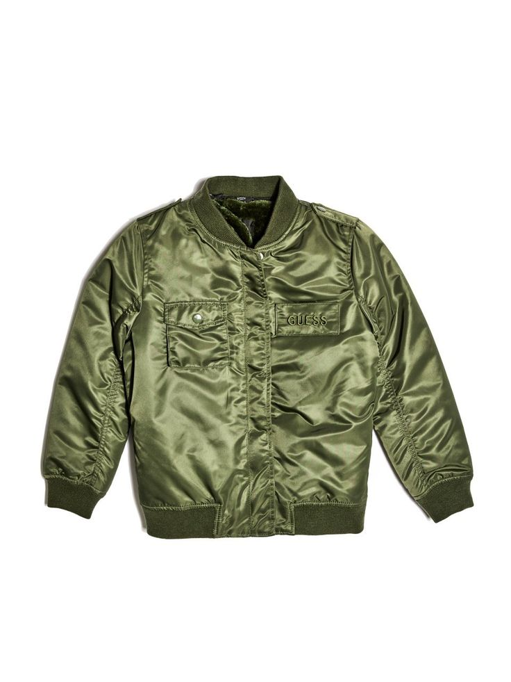 GUESS Boy's Bomber Jacket (7-18). Shell: 100% Polyester. Faux-fur: 100% Polyester. Hand wash.