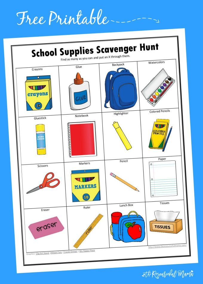 School Supplies Scavenger Hunt Shopping, Back to school