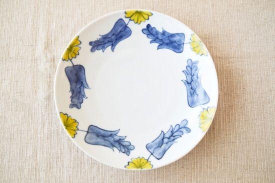 九谷焼/葛西国太郎/色絵黄花/8寸皿(径:約24.3cm)の画像