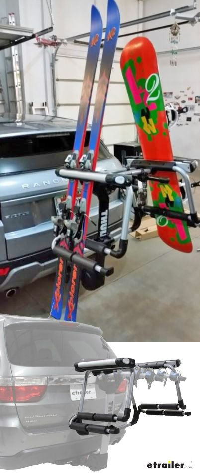 Don't strain yourself lifting skis and snowboards onto the roof of your vehicle - just add the Thule Tram to your existing dual-arm, hitch-mounted bike rack. This adapter lets you carry up to 6 pairs of skis or 4 snowboards upright on your bike rack, maximizing your carrying capacity.
