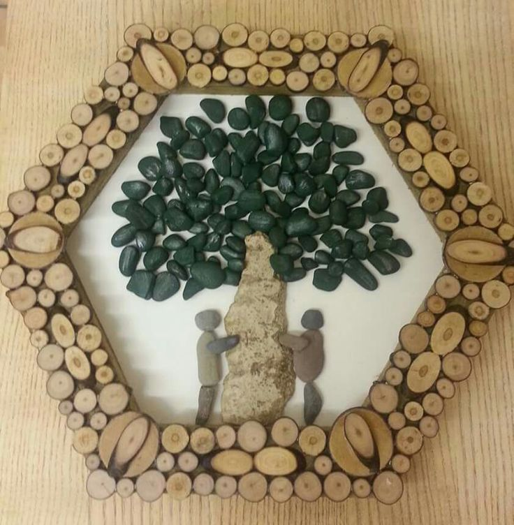 Pebble Tree huggers framed with wood slices.