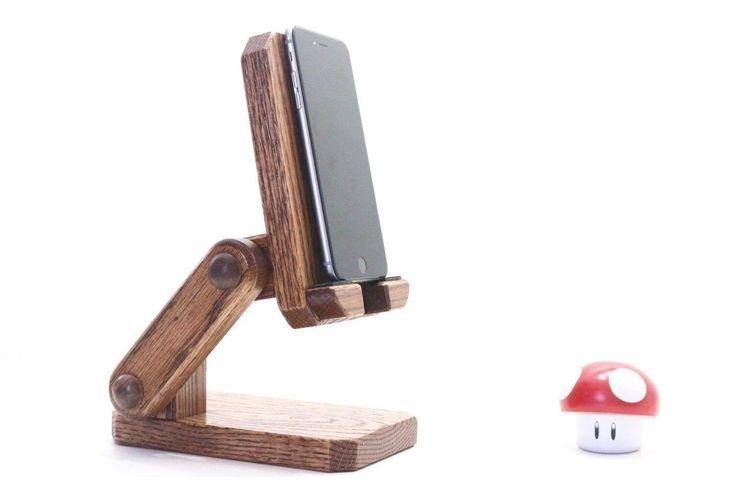 Adjustable wooden phone stand ipad mini iphone holder