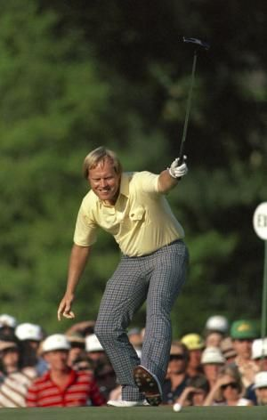 1986: Jack Nicklaus watches his birdie putt drop on the 17th hole. Nicklaus, 46, shot 30 on the final nine to win his sixth Masters. - More photos and history at http://www.Augusta.com