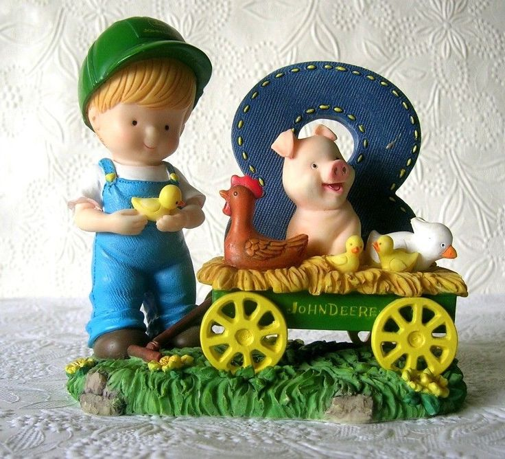 John Deere Boy Age 8  by Enesco 1999 boy with farm friends Pig Chicken Duck #JohnDeerebyEnesco