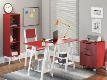 Mesa Cavalete Madesa Tutti Colors - 53157M2 + Cadeira MDF para Escritório Vermelho