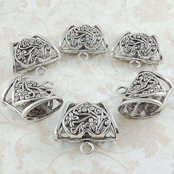 6 pcs. Antique Silver Trapezoid Scarf Bail  by StarVisionOriginals, $8.95